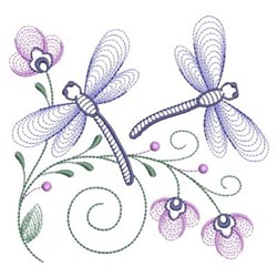 Rippled Dragonflies embroidery design