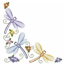 Rippled Dragonflies Corner embroidery design