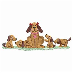 Dog Family embroidery design