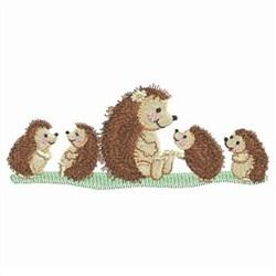Hedgehog Family embroidery design