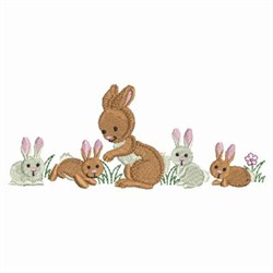 Rabbit Family embroidery design