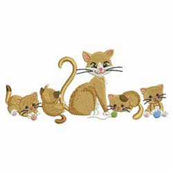 Cat Family embroidery design