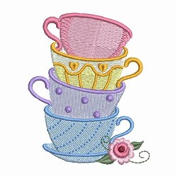 Stacked Tea Cups embroidery design