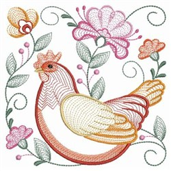 Rippled Hen embroidery design