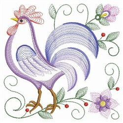 Rippled Rooster embroidery design