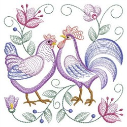 Rippled Rooster And Hen embroidery design