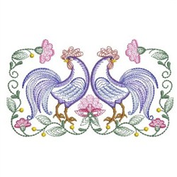 Rippled Rooster And Hen 2 embroidery design