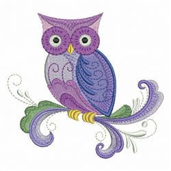 Rosemaling Owl embroidery design