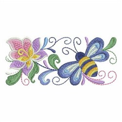 Rosemaling Bee embroidery design