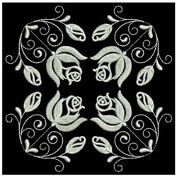 White Work Roses 4 embroidery design