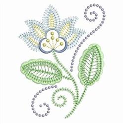Swirl Jacobean Flowers embroidery design