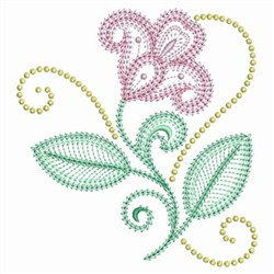 Swirl Jacobean Flowers embroidery design