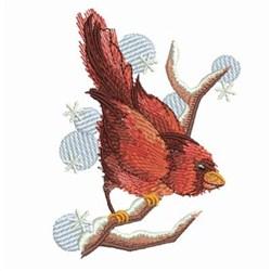 Watercolor Winter Cardinal embroidery design