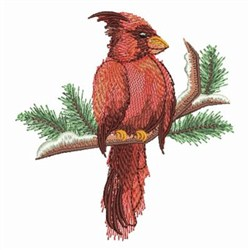 Watercolor Winter Cardinal embroidery design