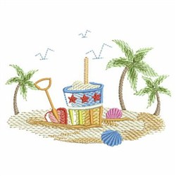 Sketched Sunbonnet At The Beach embroidery design