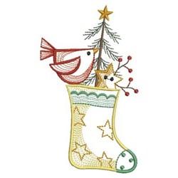 Vintage Christmas Stocking embroidery design