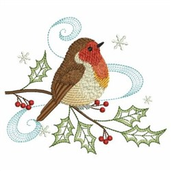 Christmas Robin embroidery design