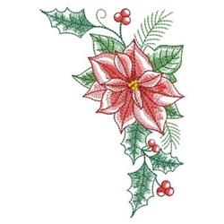 Elegant Poinsettia Corner embroidery design
