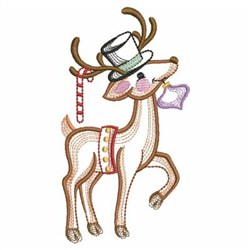 Vintage Christmas Reindeer embroidery design