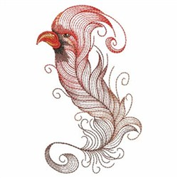 Textured Cardinal Feather embroidery design