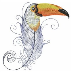 Textured Toucan Feather embroidery design
