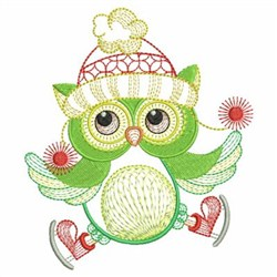 Textured Christmas Owl embroidery design