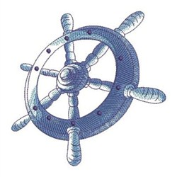 Sketched Nautical Wheel embroidery design