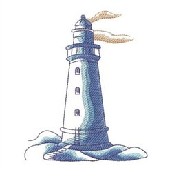 Sketched Nautical Lighthouse embroidery design