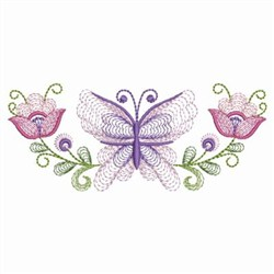 Rippled Butterfly & Flowers embroidery design