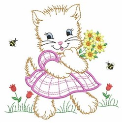 Vintage Baby Kitten Embroidery Designs Machine Embroidery