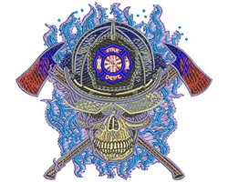 Flaming Fireman Skull embroidery design