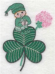 Leprechaun On Shamrock embroidery design