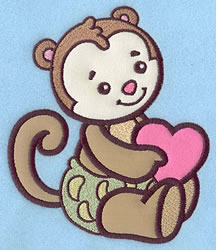 Baby Monkey Applique embroidery design