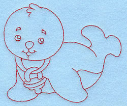 Baby Seal Redwork embroidery design