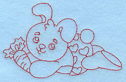 Baby Bunny Redwork embroidery design