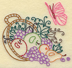 Fruit Basket and Butterfly embroidery design