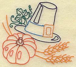 Pumpkin and Pilgrim Hat embroidery design