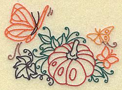 Butterflies and Pumpkin embroidery design
