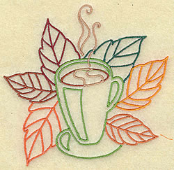 Cocoa and Leaves embroidery design