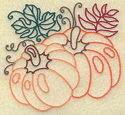 Pumpkins and Leaves embroidery design