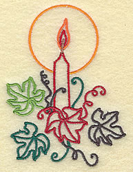 Candle with Leaves embroidery design