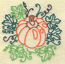 Pumpkin and Leaves embroidery design