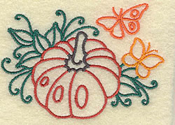 Pumpkin and Butterfly embroidery design