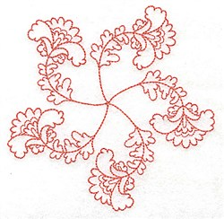 Scalloped Floral Redwork embroidery design