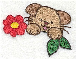 Puppy With Flower embroidery design
