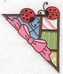 Corner Ladybugs embroidery design