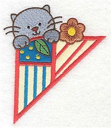 Corner Kitty embroidery design