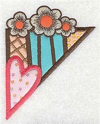 Corner Heart & Flowers embroidery design