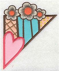 Corner Heart Floral embroidery design