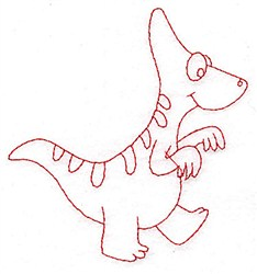 Cute Redwork Dinosaur embroidery design